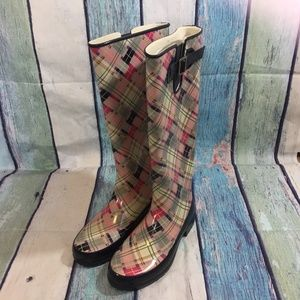 Sperry Pelican Plaid Tall Lined Boots 7